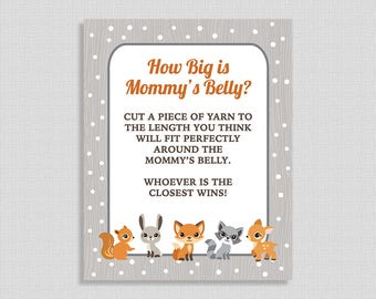 How Big is Mommy's Belly Printable Sign, Winter Woodland Animals Baby Shower Game Sign, Neutral, INSTANT DOWNLOAD