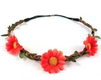 Headband - orange Daisy flower Crown