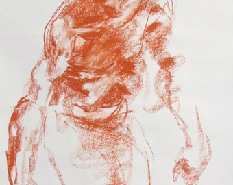 "Sanguine Abstract Figure Drawing - 18 x 24"",  fine art - Drawing 175 - conte on paper - original drawing"