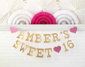 Sweet 16 Banner - Glitter 5 inch Letters - Sweet 16 Party Decor Sweet 16 Garland 16th Birthday Party Decorations Gold Custom Name Banner