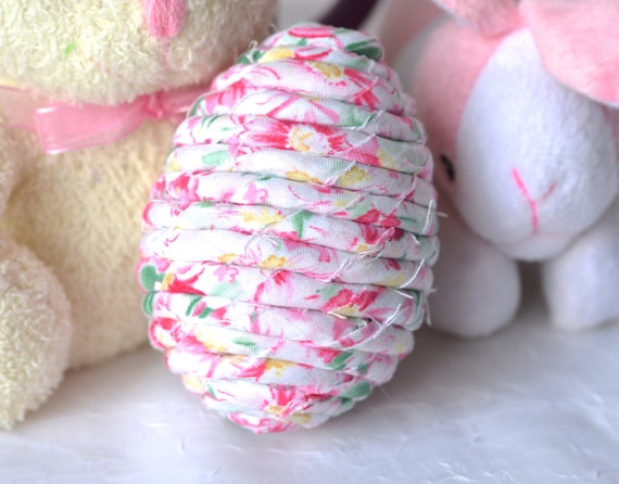 Shabby Chic Egg Home Decor,  Handmade Pink Rose Easter Egg, Bowl Filler Stuffer, Spring Decoration, Hand Coiled Fiber Easter Egg