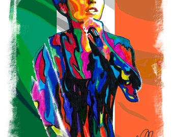 """Dolores O'Riordan, The Cranberries, Singer, Vocals, Celtic Rock, 18"""" x 24""""  POSTER from Original Painting 2"""