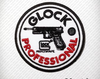 Embroidered patch iron on Clothes T Shirt Cap Vest Jacket . Professional Pistol GUN