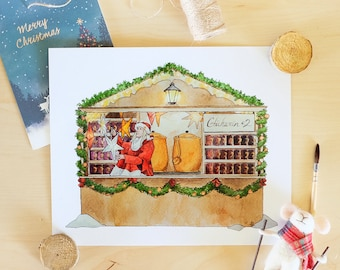 Christmas Market Gluhwein Stand - Fine Art Print, Holiday Decor, German Christmas Illustration, Mulled Wine