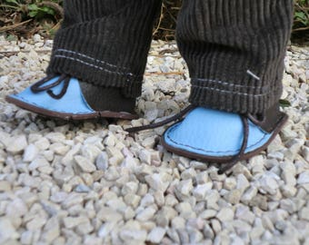 Blue and brown shoes for Wichtel dolls