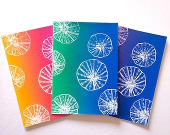 Sea urchin art, Linocut cards, Greeting card set of 3, Hand made greeting cards handmade seaside art, Birthday card, Art cards