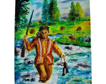 Oil on Canvas Signed Painting of Native American Indian Fishing