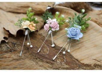 Mulberry Paper Flower Lapel Pins,Handmade Wedding Boutonniere,Men Lapel pins Set (FL 310)