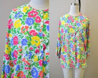 1980s Malia Floral Blouse