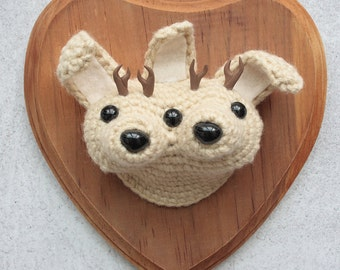 Faux Taxidermy Conjoined Twin Jackalopes, Tan Bunnies on Stained Wood Plaque