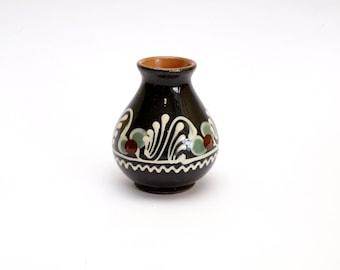 Small vintage vase Flower vase Antique vase Ceramic vase Black vase Porcelian vase  Ceramic bud vase Hand painted vase Mini vase Round vase