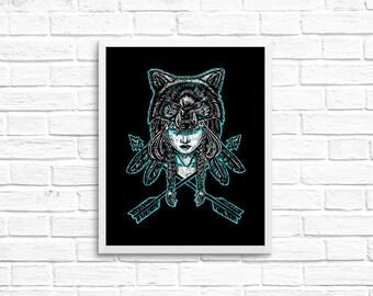 Wolf Spirit Illustration Art Print - 8x10