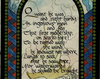 Dessin Aquarelle vintage de navire et de poésie signé Kris