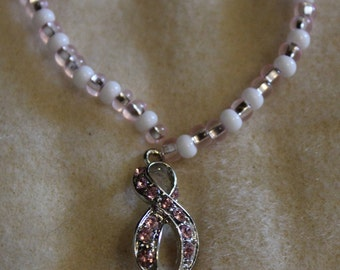 Pink and White Cancer Awarness Necklace