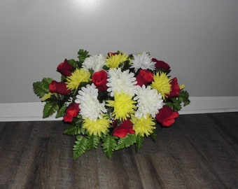 Cemetery Flowers, Tombstone Saddle, Cemetery Headstone Flowers, Grave Flowers, Yellow Mum and Red Felt Rose, Memorial Day Flowers  FF768