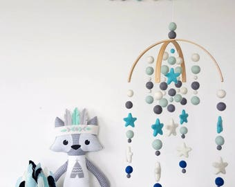 Baby Mobile, Cot Mobile, Crib Mobile, Felt Ball Mobile, Nursery Mobile, Baby Boy Mobile, Mobile for Baby Boy, Pom Pom Mobile,