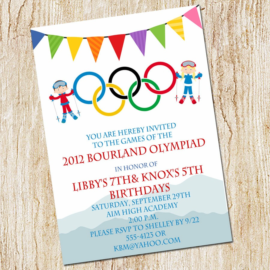 Olympic Party invitation Winter Olympics Birthday Invitation