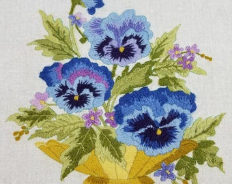 Crewel embroidered pansies,  embroidered flowers, crewel embroidery, vintage embroidery