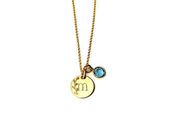 Delicate Necklace, Gold filled initial necklace, Birthstone Necklace, birthday gift, Gold letter Necklace Gold Necklace Gold Jewelry