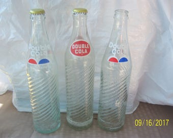 """1970's Lot of 3 Double Cola 16 oz clear acl painted label soda bottle 10 3/4"""" tall"""