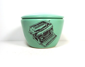 a lidded bowl / jar with an Underwood Typewriter print shown here on a Blue Green glaze - Made to Order/ Pick Your Colour / Pick Your Print