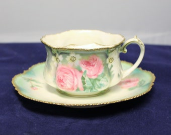 Antique RS Prussia Moustache Cup and Saucer