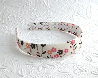 Girls Floral Headband ~ Hard Plastic Fabric Covered Arched Headband ~ Womens / Adults Headband