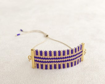 Beadwoven Adjustable Gold Chain Bracelet in Ultraviolet