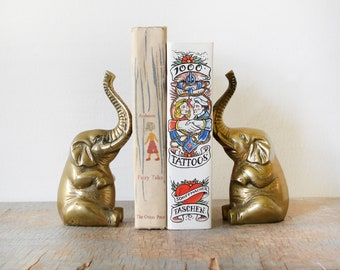 vintage brass elephant bookends, mid century elephant figurines, home office decor, trunks up for luck