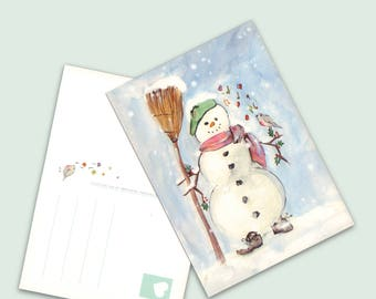 Illustrated postcard for New Year, snowman