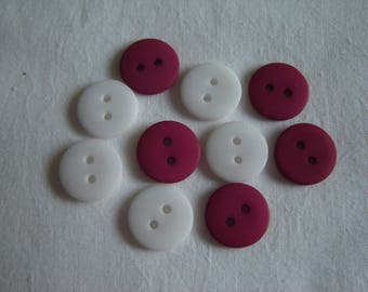 10 buttons red & white / / 15 mm