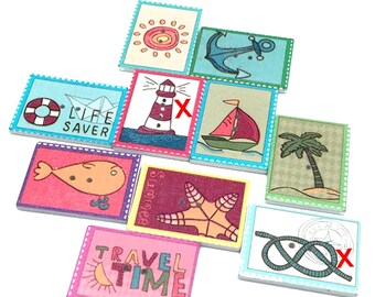 8 stamps Beach, vacation, sea 3.4 cm - 2 hole buttons