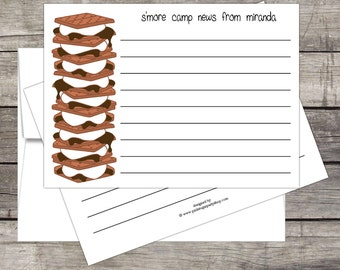 S'more Camp Stationery (20ct) Flat A2 Notecards & Envelopes Customized for you