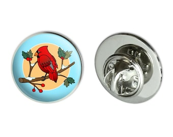 """Red cardinal on snowy holly branch metal 0.75"""" lapel hat pin tie tack pinback"""