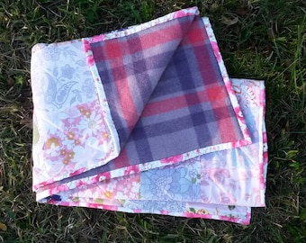 Pink and Purple Vintage Sheet Quilt - Picnic Blanket - Cot Quilt - Crib Quilt - Lap Quilt - Handmade with Vintage Sheets