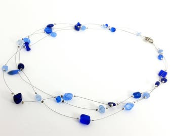 Shades of Blue Glass Three-strand Necklace