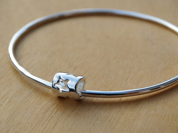 Silver Star Bead Bangle, Sterling Silver