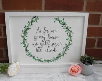 As for me and my house A3 hand lettered frame