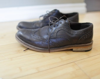vintage gray brown leather wingtips oxfords loafers mens 10