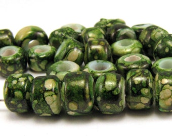 Enchanted Forest Marble 9mm Crow Beads 50pc #S9