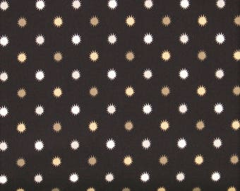 Gold, Gray and Soft White Burst Dots on Black 100% Cotton Quilt Blender Fabric, Flint Collection by Red Rooster Fabrics, RER468626488-BLA1