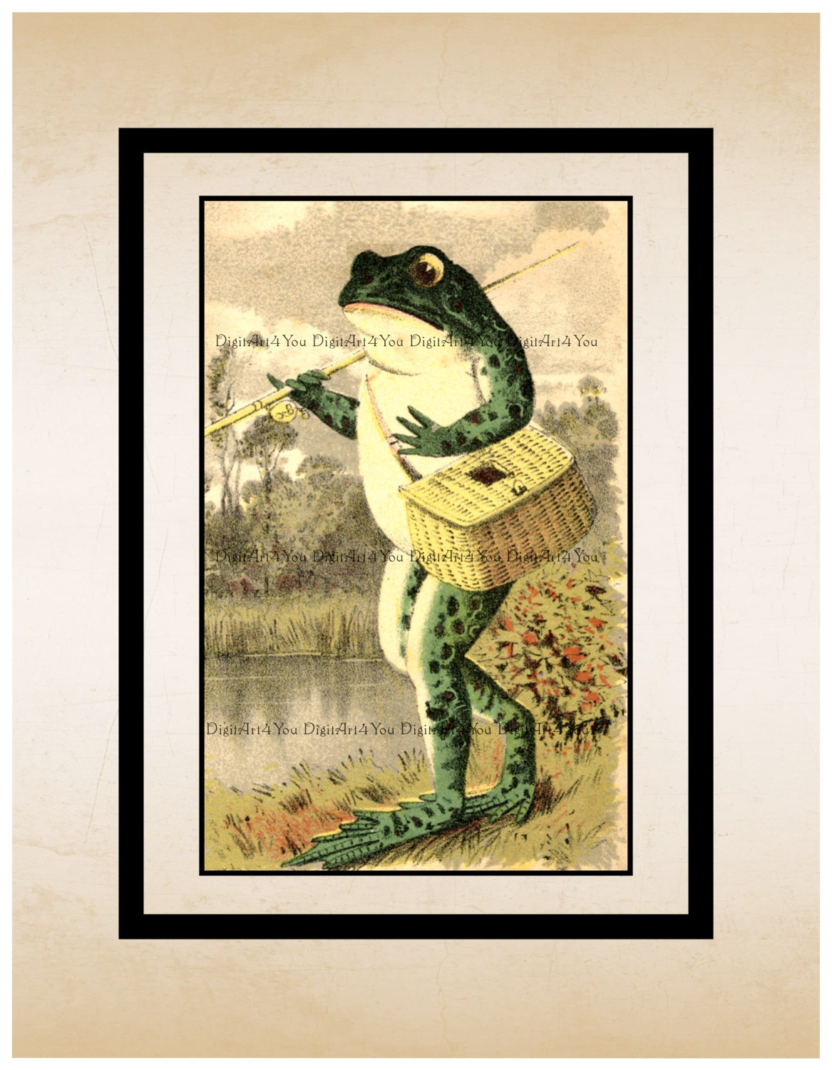 High Resolution Poster Digital Download Vintage Toad with Fishing ...