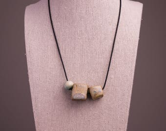 Ceramic Beaded Necklace// Ceramic Statement Necklace// Stoneware Ceramics//