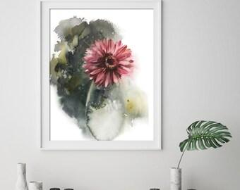 Pink Gerbera Daisy flower fine art print, flower botanical watercolor painting art, green background modern floral wall art print