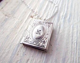 Graduation Gift, Personalized Locket Necklace, Silver Book Locket with Initial, Personalized Necklace, Miniature Book Necklace, Graduate