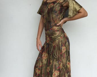 Stunning 20s floral handstitched off the shoulder metallic lamè gown