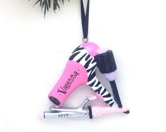 Salon Personalized Christmas Ornament / Hair Dryer, Brush and Curling Iron Ornament / Stylist Personalized Name or Message