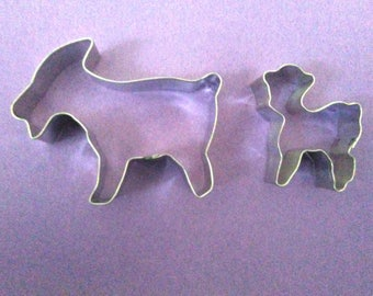"""4"""" Goat Cookie Cutter, baby goat 3""""x2"""" set of 2 Farm Animal cookie cutter, Billy goats gruff fariytale baby shower cookie cutter Made in USA"""