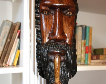 Folk art Rastafarian carving // mans head wood carving // Bohemian wood sculpture