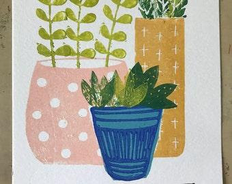 Succulents Linoprint|Printed succulents|Potplants print| Blockprint|Mustard pink decor| Kitchen wall art| Succulents wall art| Handprinted